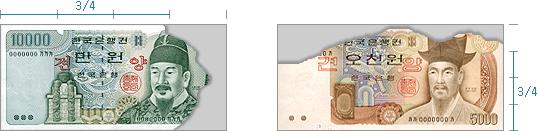 만원권 지폐의 3/4 이상의 면적이 남아있고, 오천원권 지폐의 3/4 이상의 면적이 남아있는 경우